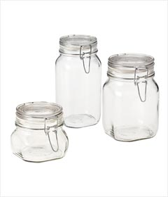 Bormioli Rocco/Paksh Novelty Fido High Quality Airtight Glass Canister /Jar With Lid- Set of 3