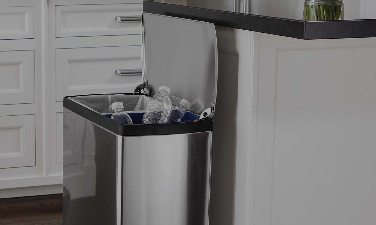 Dual Trash Cans Two Compartment Recycling Bins