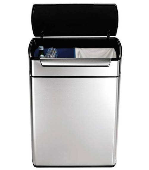 kitchen-trash-can-Simplehuman-Rectangular-Touch-Bar-Recycler