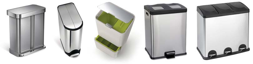 kitchen-trash-cans-sort-recycling-waste-garbage