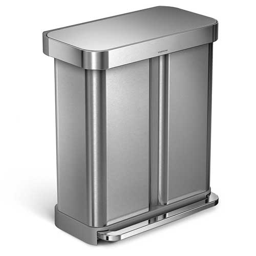 Rectangular Dual Trash Can Simplehuman Recycling Bin