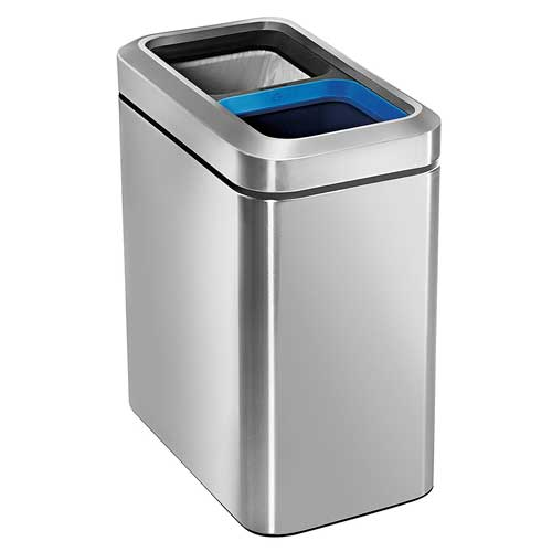small-double-trash-can-Simplehuman-open-recycler-bin