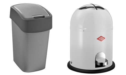 stainless steel or plastic trash can