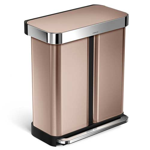 beautiful-rose-gold-simplehuman-dual-trash-can
