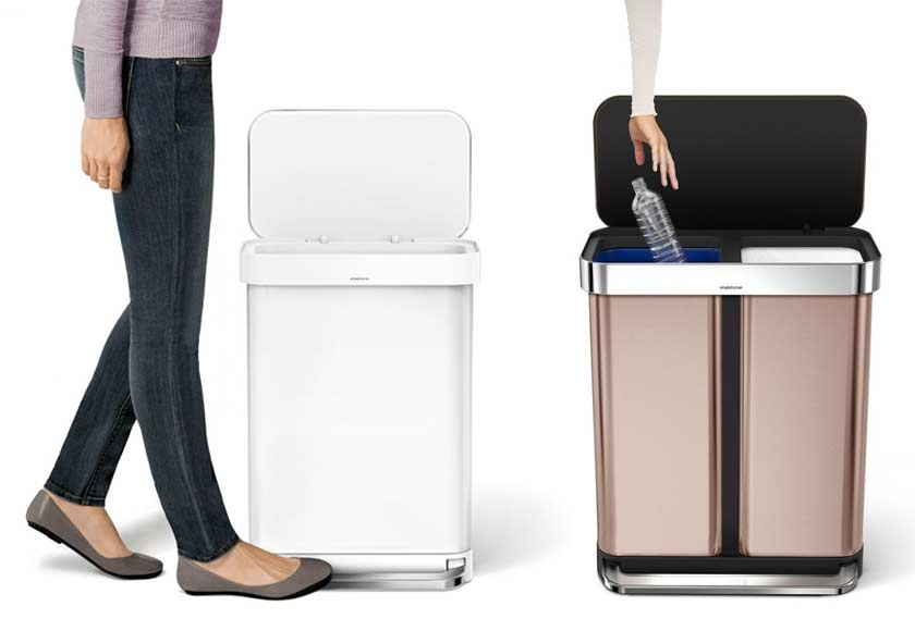 stylish-simplehuman-recycling-bins-trash-cans