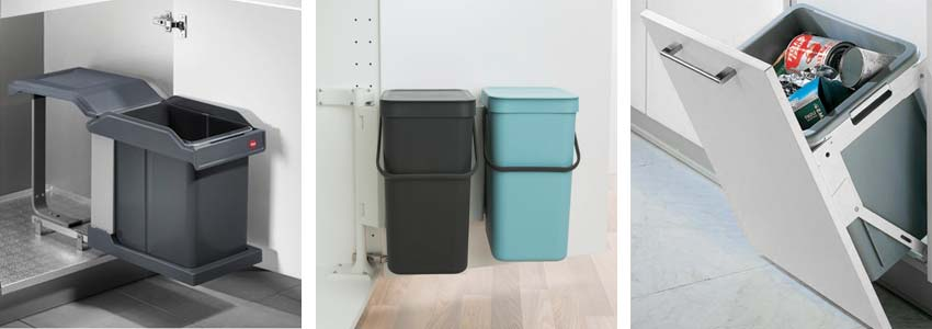different types of in cabinet trash cans