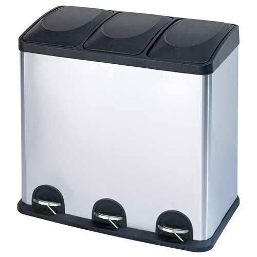 Step-'n-sort-16-gallen-3-compartment-trash-can-stainless-steel