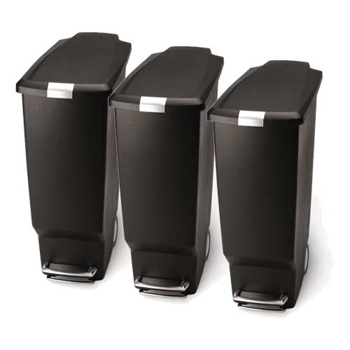 simplehuman-slim-kitchen-step-trash-can-recycling-station