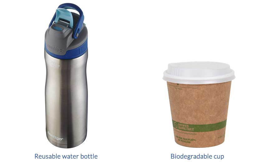 reusable-water-bottle-and-biodegradable-cup