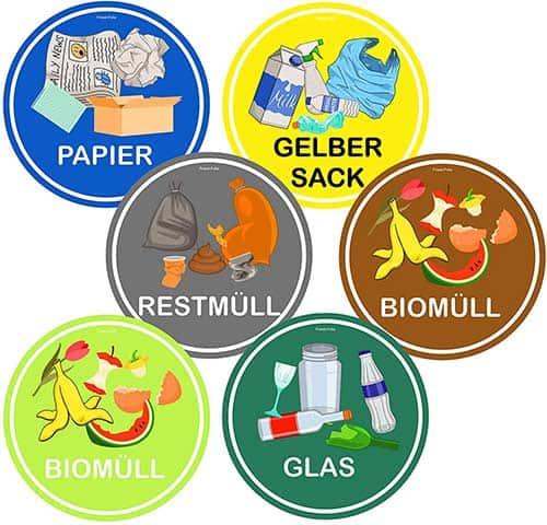 Mülltrennung-Aufkleber-Kratz