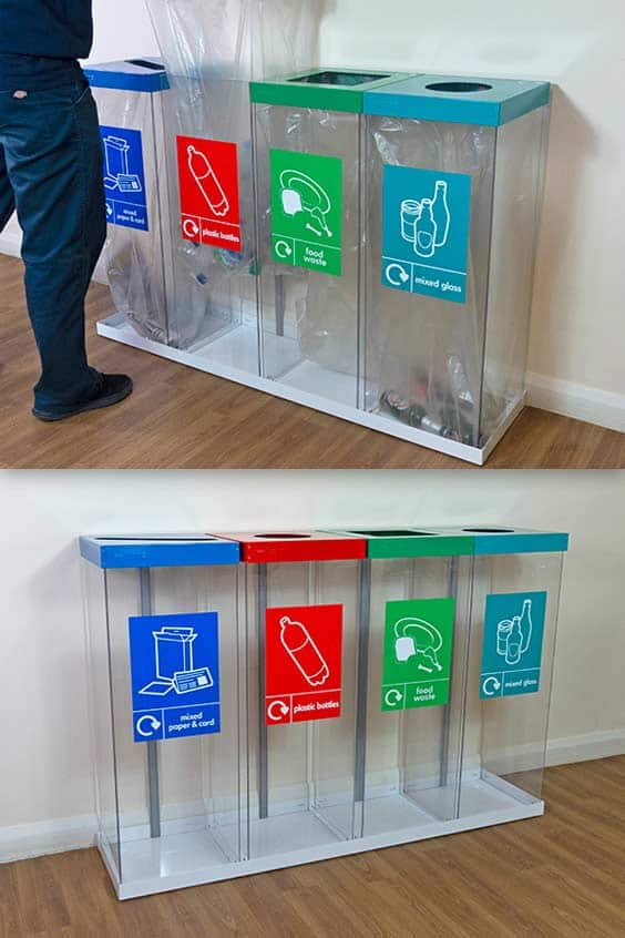 wybone-Box-Cycle-Quad-transparent-Recycling-Bin-Station