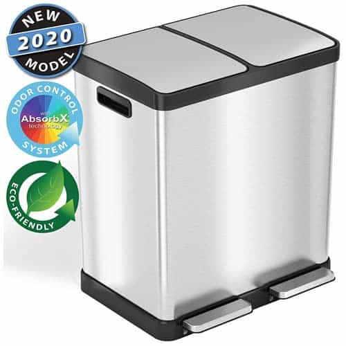 iTouchless-SoftStep-16-Gallon-Step-Trash-Can-Recycle-Bin