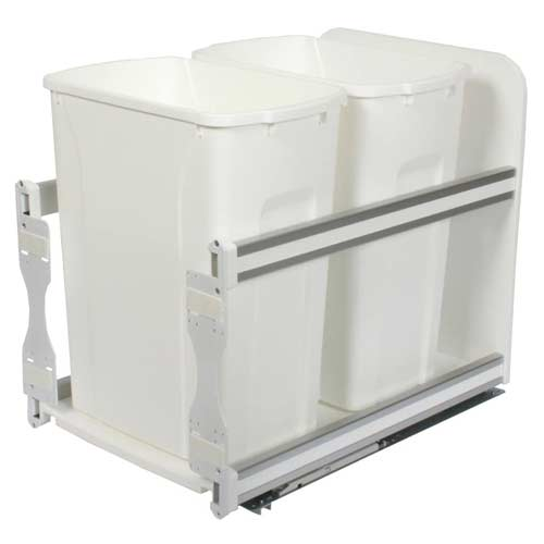 Knape-Vogt-USC15-2-35PT-In-Cabinet-Pull-Out-Trash-Can-White