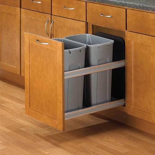 Knape-&-Vogt-USC15-2-35PT-In-Cabinet-double-trash-can-in-kitchen