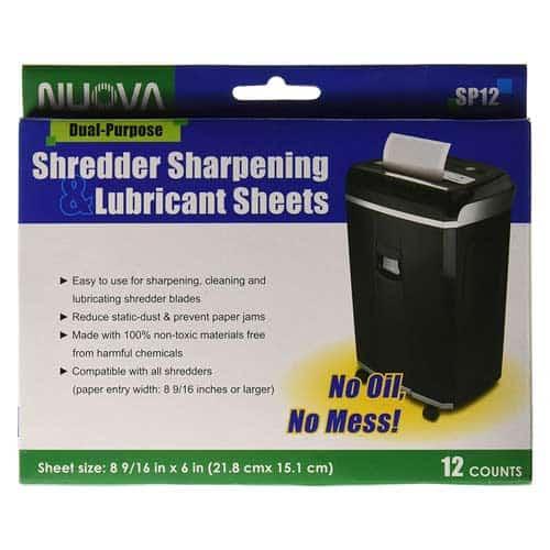 Nuova-SP12-Shredder-Sharpening-&-Lubricant-Sheets-12-Pack