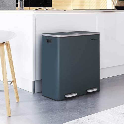 SONGMICS-16-Gallon-Dual-Step-Trash-Can-Gray