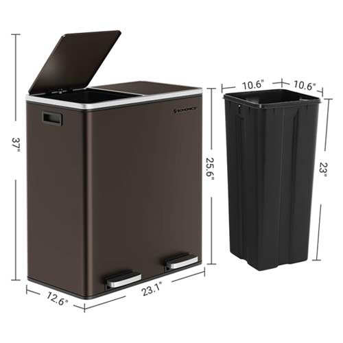 SONGMICS-16-Gallon-Step-Trash-Can-brown-dimensions