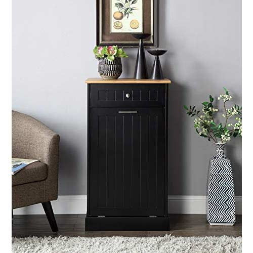 Seven-Oaks-Tilt-Out-Trash-Cabinet-with-Drawer-and-Cutting-Board-Black