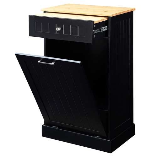 Seven-Oaks-Tilt-Out-TrashCabinet-with-Drawer-and-Cutting-Board-Black