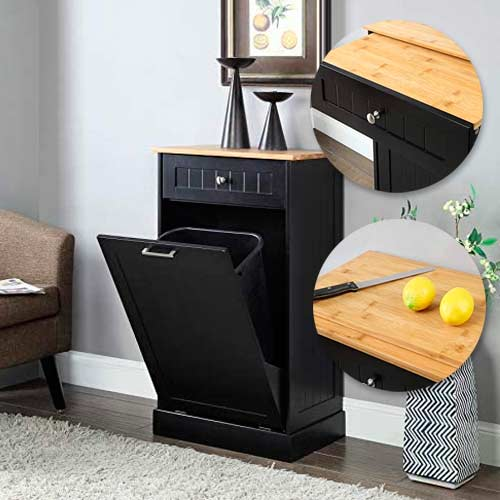 Seven-Oaks-Tilt-Out-TrashCabinet-with-drawer-cutting-board