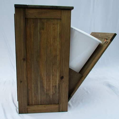 Wooden-Tilt-out-Trash-Bin-Hinged-Top-Trash-cabinet-opened