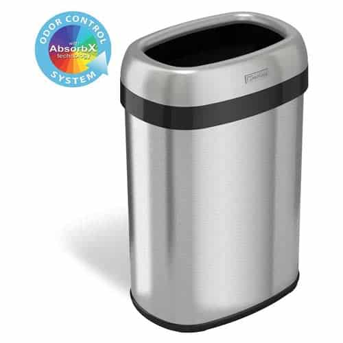 iTouchless-13-Gallon-Oval-Open-Top-Trash-Can
