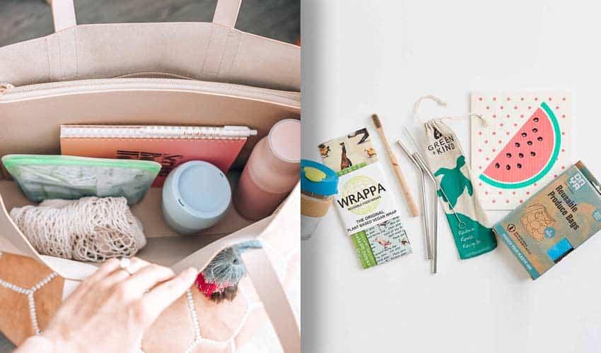 handtasche-wiederverwendbare-artikel-einkaufen-strohhalme-zahnbürste-produkt-taschen